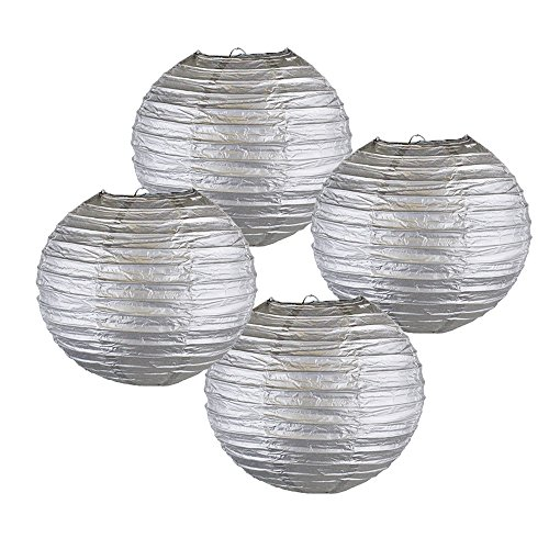 Set of 5, White Just Artifacts 18-Inch White Chinese Japanese Paper Lanterns