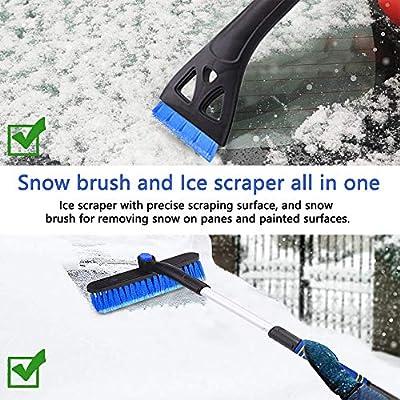 FOCHEA Snow Brush and Ice Scraper for Car Windshield Snow Scraper for Car with Foam Grip Extendable & Detachable, Telescopic Snow Removal Tools for Car SUV(PVC Brush & Pivoting Head): Automotive