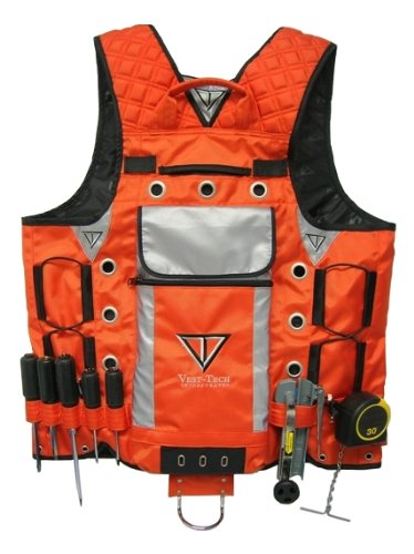 High Visibility Tool Vest with Built in Hydration Pouch - Electricians, Surveyors, Contruction (Orange) by Vest Tech (Image #1)