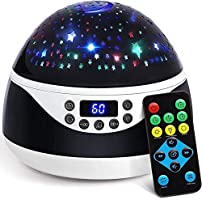 Stars Night Light Projector with Timer & Music, Remote Control Projection Lamp for Kids, Rotating Kids Night Lights for...