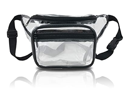 f3a85f993903 Clear Fanny Pack. Stadium Approved Waist Bag for Events, Games, and  Concerts Transparent (Black)