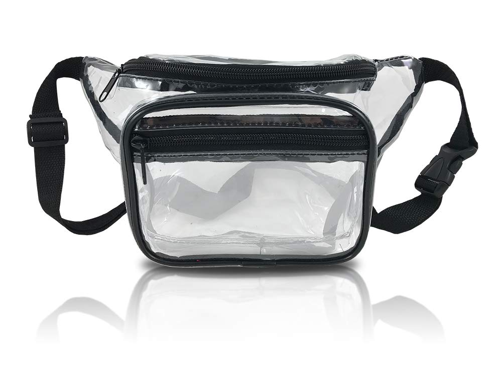 Clear Fanny Pack. Stadium Approved Waist Bag for Events, Games, and Concerts Transparent (Black)