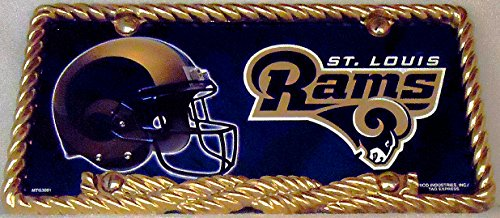 1 , Football Sign of the, SAINT LOUIS RAMS , Metal Sign, Enclosed by a Gold Rope Metal Border,19A1.317B5.4+3001+