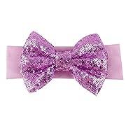 BAOBAO Kid Girl Glitter Shiny Sequined Bow Turban Knot Hair Band Headband (Purple)