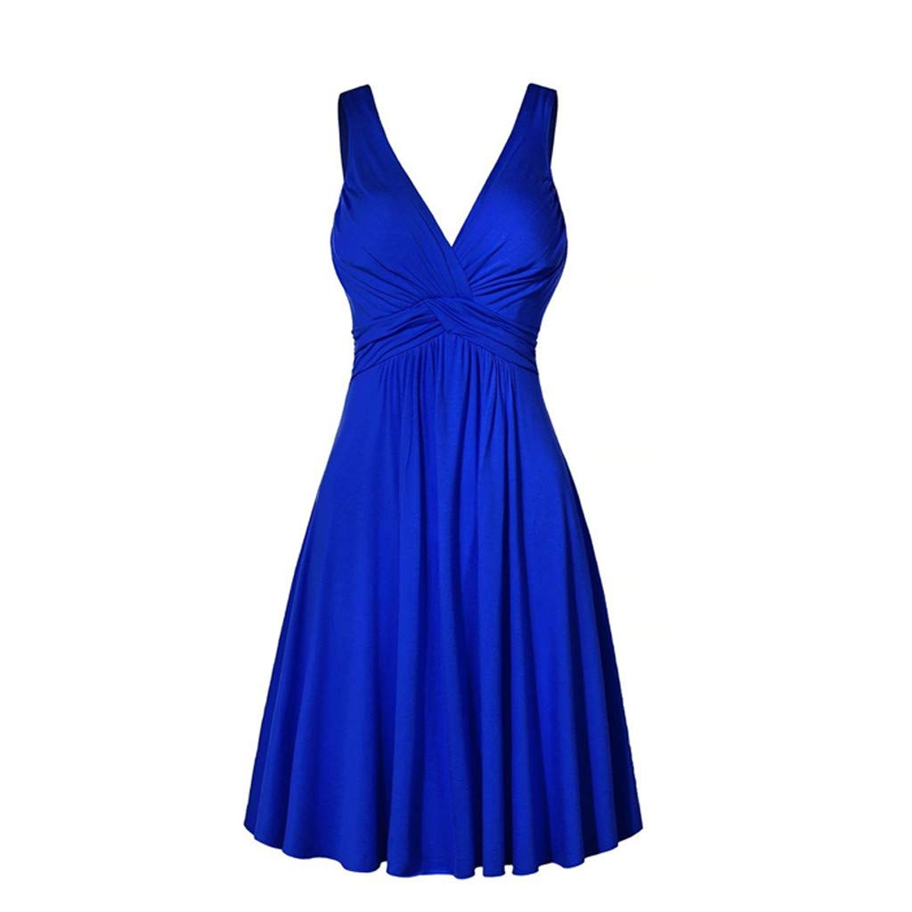 Dress for Women Sleeveless V Neck Solid Backless Pleated Swing Flowy Cocktail Dresses (XXL, Blue)