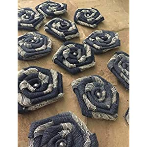 12 Denim and Lace Flowers Rustic Western Outdoor Wedding Ranch Decorations Table Wrea 58
