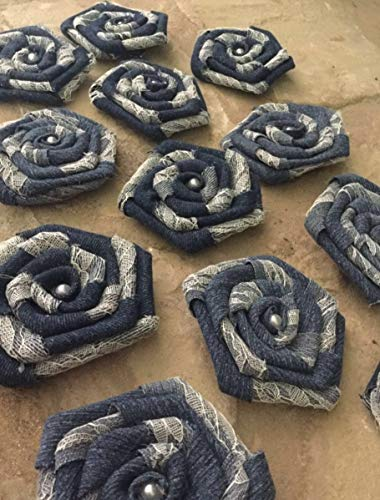 12-Denim-and-Lace-Flowers-Rustic-Western-Outdoor-Wedding-Ranch-Decorations-Table-Wrea