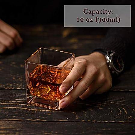 "Etched Globe Spinning & Rocking World - Juego de dos vasos de whisky (300 ml), diseño con texto ""Old-Fashioned Liquor, Rum, Scotch, Bourbon, Vodka"""