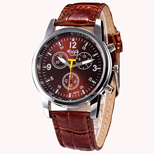Han Shi Wristwatches  Mens Fashion Luxury Crocodile Faux Leather Stainless Steel Analog Watch  A  Brown