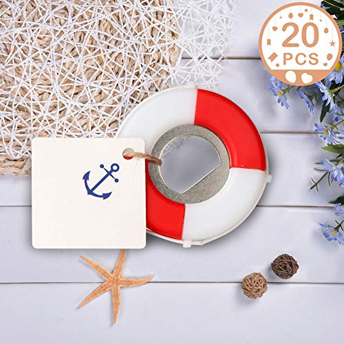 PartyTalk 20pcs Nautical Wedding Favors for Guests Lifesaver Bottle Opener with Anchor Tags Beach Wedding Nautical Party Favors for Baby Shower Birthday Party - Bottle Theme