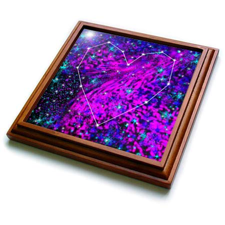 3dRose BlakCircleGirl - Design - Love is in the Stars - A romantic heart, a funky 80s cosmos for you. - 8x8 Trivet with 6x6 ceramic tile (trv_300236_1) ()