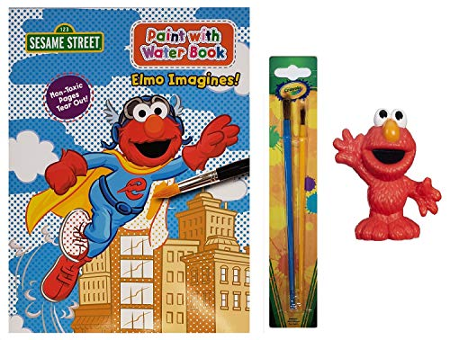 Sesame Street Elmo Imagines! Paint with Water Book, Crayola Paintbrushes, and Collectible Figure | 3 Piece Gift Set