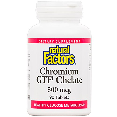Natural Factors - Chromium GTF Chelate, Helps Maintain Healthy Blood Sugar Levels Already Within the Normal Range and Supports Metabolism of Glucose, Gluten Free, Vegan, Non-GMO, 90 Tablets