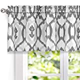 DriftAway Evelyn Ikat Fleur/Floral Pattern Window Curtain Valance, 52''x18'' (Gray)