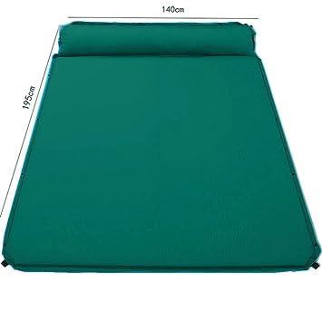 Y flocado doble cama de aire hinchable con almohada para camping ...