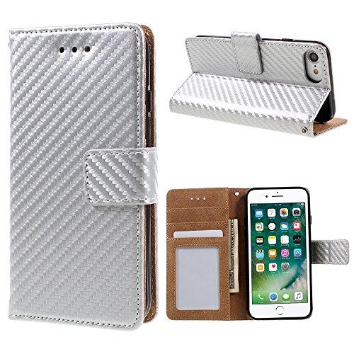 "Apple iPhone 7 4.7"" Handy Tasche Wallet Case Carbon Fiber Optik Klapp Etui Hülle Bag Silber"