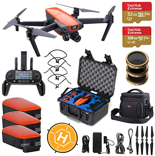 Autel Robotics EVO Quadcopter Drone with 3-Axis Gimbal Camera Bundle with GPC Rugged Case, 2 Extra Battery, Bag, PolarPro Filter Kit, 128+32GB microSD Card and Accessories