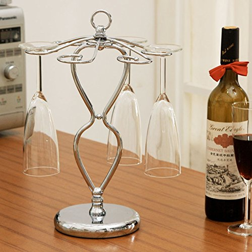 KMYX Creativo Vertical de Hierro Forjado Wine Glass Rack Copa de Vino invertido Holder Hanging Estante para Bar Restaurante...