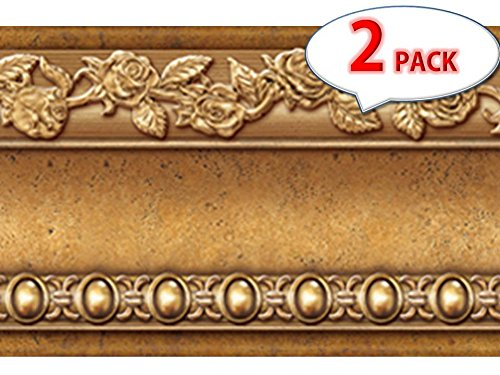[Pack of 2] Flower Molding Peel and Stick Wall Border Easy to Apply (Gold Brown) by FIXPIX