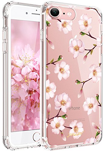 Blossom Plum Designs - JAHOLAN Cute Girl Floral Design Clear TPU Soft Slim Flexible Silicone Cover Phone Case Compatible with iPhone 7 iPhone 8 - Pink Plum Blossom Multilayer