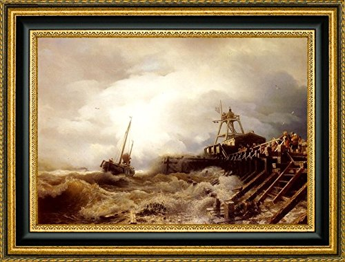 (A Fishing Boat Caught In A Squall Off A Jetty by Andreas Achenbach - 17