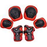 YOMYM Kids Knee Elbow Wrist Protective Guard Pads, BMX Inline Skating Scooter Rollerblade Cycling Skateboard Protective Gear Set 6pcs