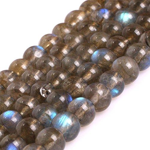 AAA Grade Natural Genuine Gemstone Semi Precious Stone Beads for jewelry Making 15'' (Round Blue Rainbow Labradorite/6MM) ()