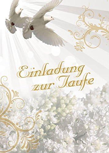 Einladungskarten Taufe Für Junge Und Mädchen Mit Innentext Motiv Weiße Tauben 10 Klappkarten Din A6 Mit Weißen Umschlägen Im Set Taufekarten Mit