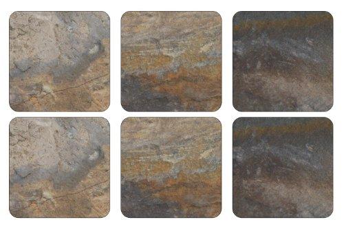 - Pimpernel 10.5 x 10.5 cm MDF with Cork Back Earth Slate Coasters, Set of 6, Multi-Colour