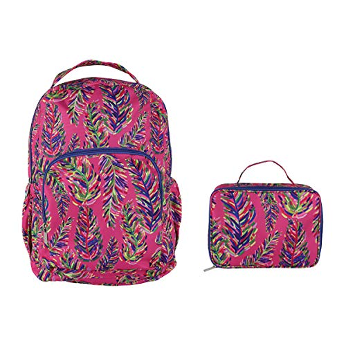 Pink Frond Watercolor Purple 18 x 10 Polyester Canvas Backpack and Lunchbox Set