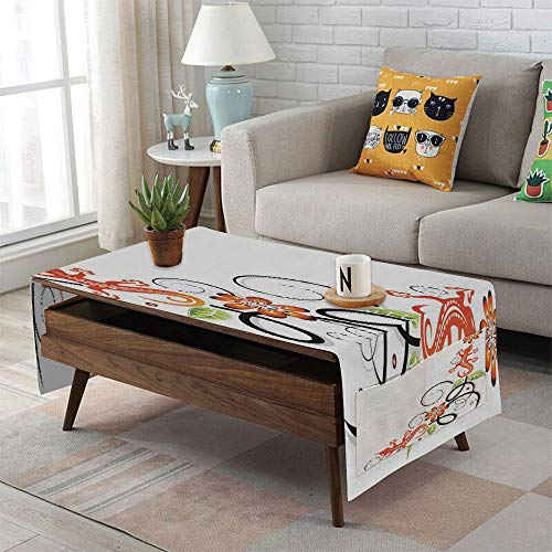iPrint Linen Blend Tablecloth,Side Pocket Design,Rectangular Coffee Table Pad,Tribal Decor,Small Baby Lizard Flowers and Leaves with Oriental Lines Print,Orange Green Black White,for Home Decor (Metallic Lizard Print)