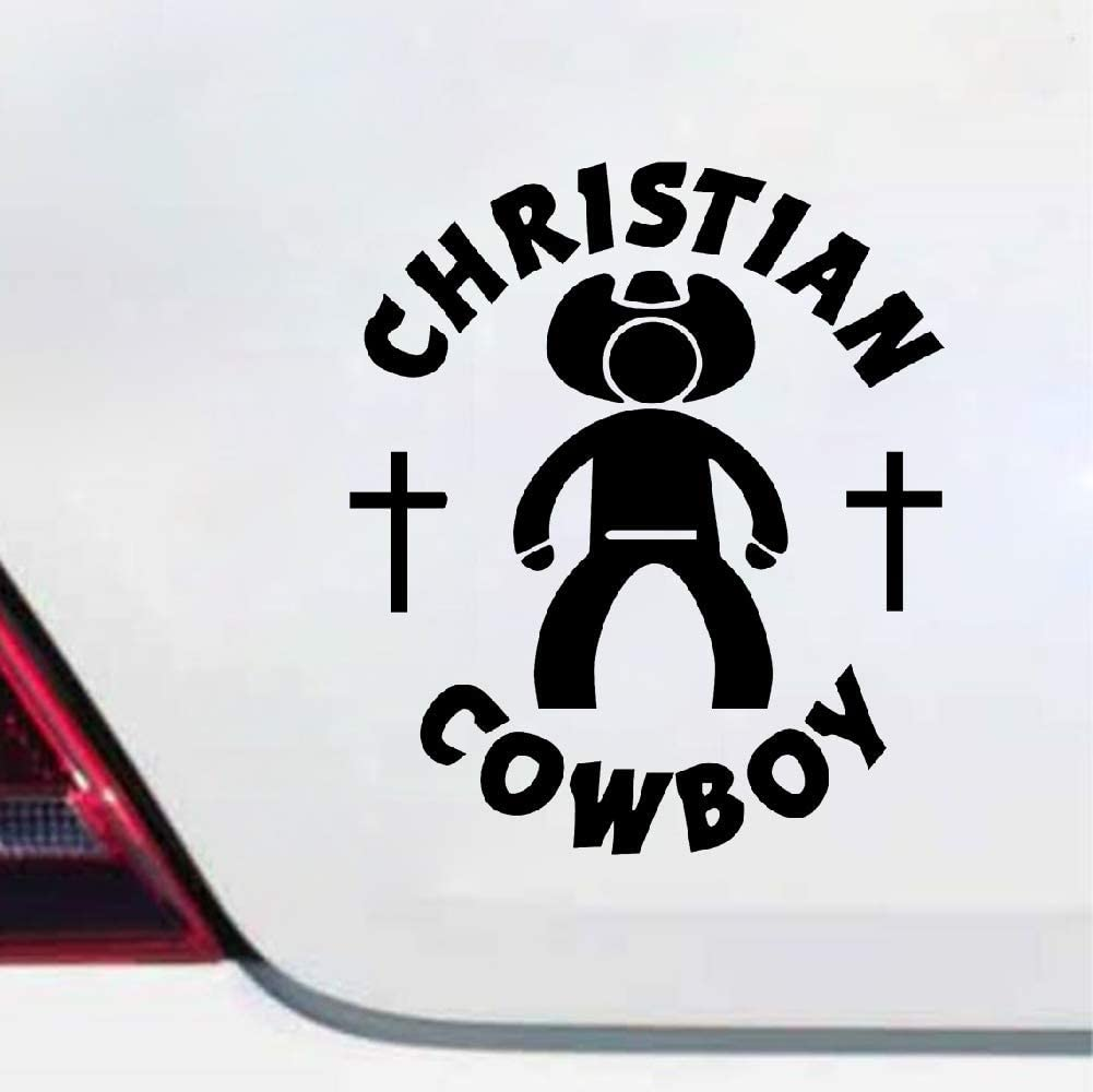 Autoadhesivos Christian Cowboy Religious Car Truck Window Wall Laptop Vinyl Decal Sticker Accesorios del coche Casco de la motocicleta Car Styling