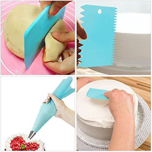 Kootek 32-Piece Cake Decorating Supplies Tips Kits Stainless Steel Baking Supplies Icing Tips with Pastry Bags, 3 Icing Smoothers, 1 Flower Nails and 2 Reusable Coupler by Kootek (Image #5)