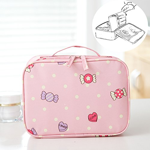 LANGUGU Waterproof 2 Layer Large Capacity Cosmetic Bag Portable Makeup Brush Organizer Kit Multifunctional Vacation Travel Home Toiletry Cute Printed Pouch for Little Young Girl (Candy) ()