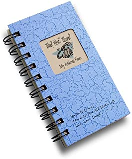 product image for Who? What? Where? - My Address Book - MINI Lt Blue Hard Cover (prompts on every page, recycled paper, read more...)
