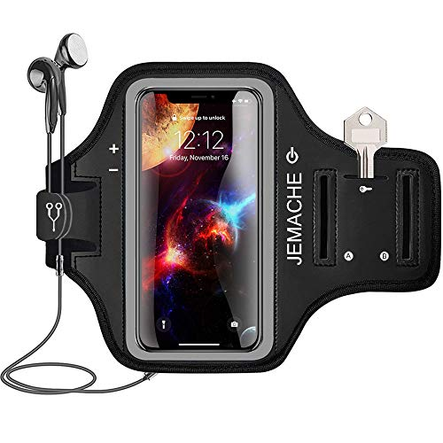 iPhone Xs Max Armband, JEMACHE Water Resistant Gym Running Workout/Exercise Arm Band Case for iPhone Xs Max (6.5) 2018 with Key/Card Holder (Black)