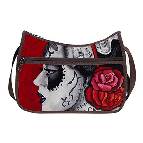 Simple Classic Everyday Hobo Handbag Female Women Shoulder-to-Crossbody Hobo Bag Day of the Dead Pattern