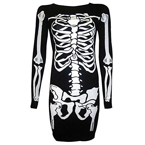 JoinPro Halloween Skeleton Costume Long Sleeves Cosplay Costumes Dressing for Women (S) (Diy Womens Skeleton Costume)