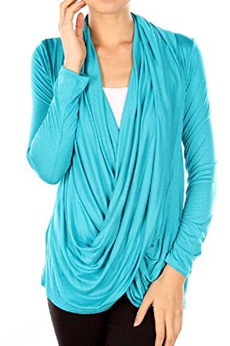 Viosi Solid Criss Cross Cardigan - Made in USA [Turquoise, Small]