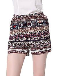 YJWAN Women Summer High Waist Hot Pants Printed Elastic Casual Plus size Beach Shorts