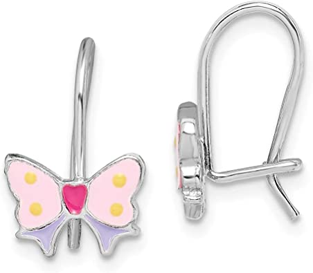 Sterling Silver Rhodium-plated Madi K CZ Childrens Butterfly Post Earrings