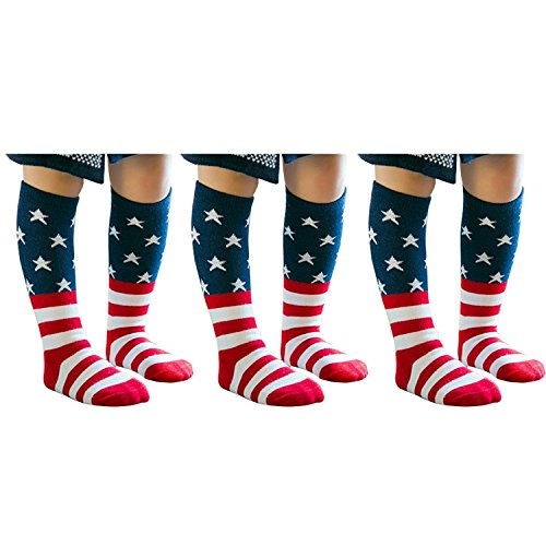 PenGreat Knee High American Flag Toddler Socks Boys Girls Child Crew Striped Socks 3 Pairs