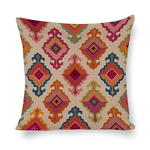 Welkoom Sofa Pillow Cases Cushion Couch Covers Line Symmetry Pattern Magenta Cotton Linen Decorative Cushion -
