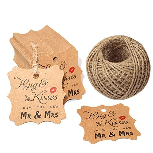 Wedding Favor Tags,100 Pcs Square Hug & Kisses from The New Mr & Mrs Gift Tags for Bridal Shower Anniversary with 100 Feet Jute Twine by KINGLAKE