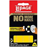 LePage No More Nails Removable Strips Mounting Tape, 2mm x 4mm x 10 Strips (1873073)