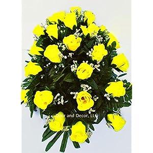 Yellow Roses~Cemetery Arrangement~Graveside Decorations~Headstone Saddle~Saddle Arrangement~Sympathy Flowers~Grave decor~Cemetery Flower Service Subscription Available 3