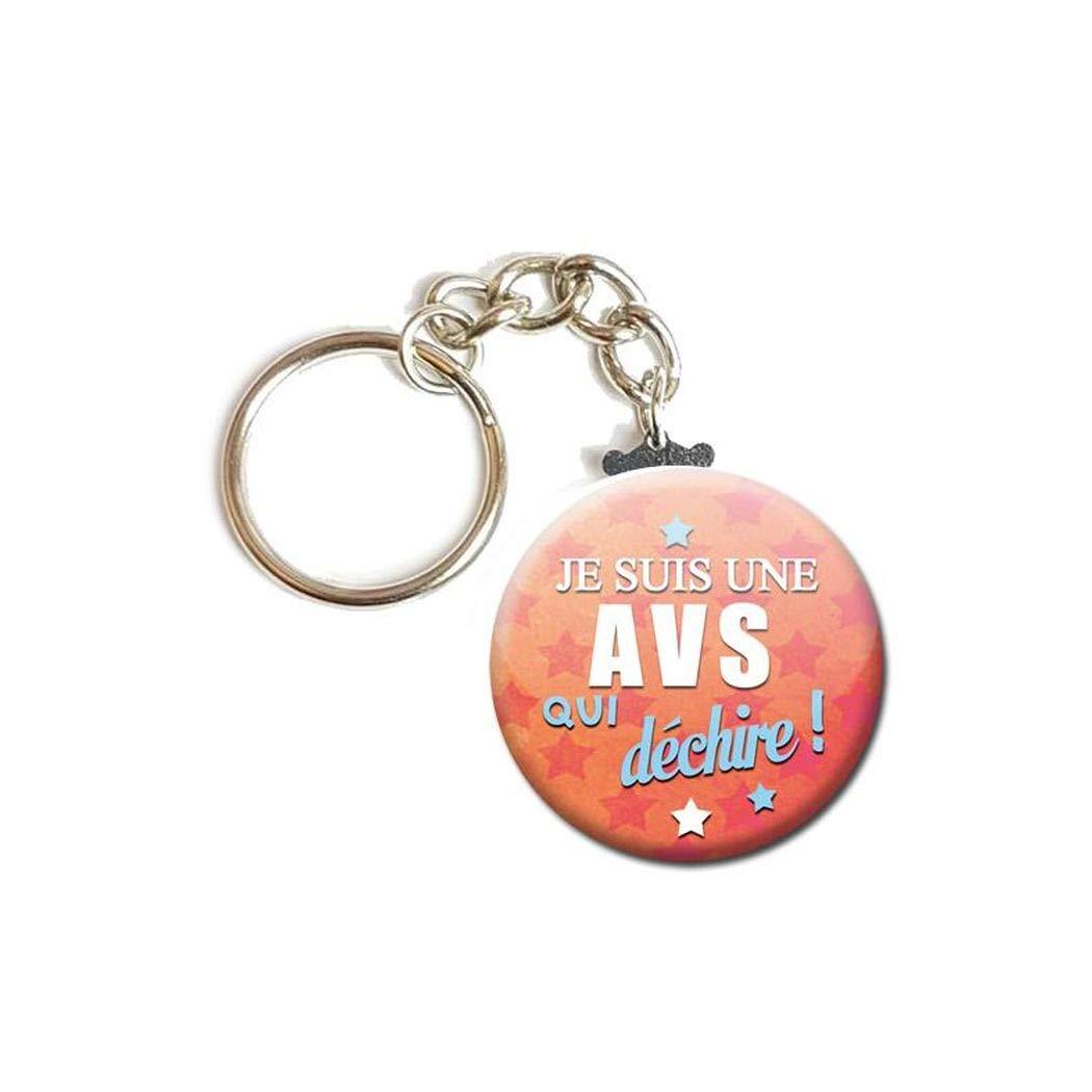 Porte Cl/és Cha/înette 3,8 centim/ètres Je suis une AVS qui d/échire Auxiliaire de Vie Scolaire Id/ée Cadeau Accessoire /École Enfant