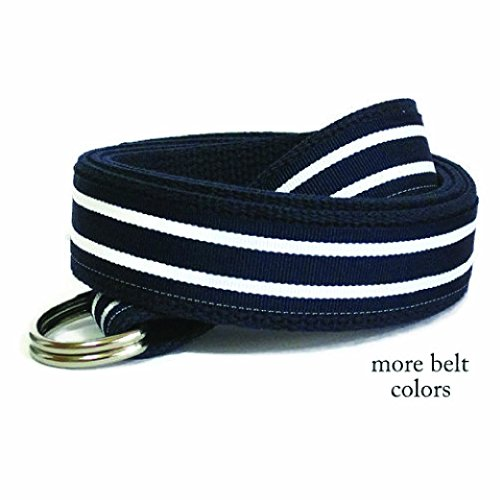 Striped Ribbon Belt (Mens Belt / Blue Striped Belt / Navy Blue Canvas Belt / Blue Striped D-ring Belt / Preppy Khaki Ribbon Belt for men women teens Big & Tall (Hampton))