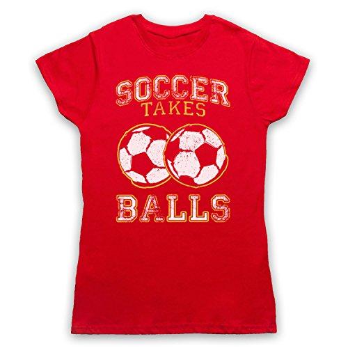 Soccer Takes Balls Funny Football Slogan Camiseta para Mujer Rojo