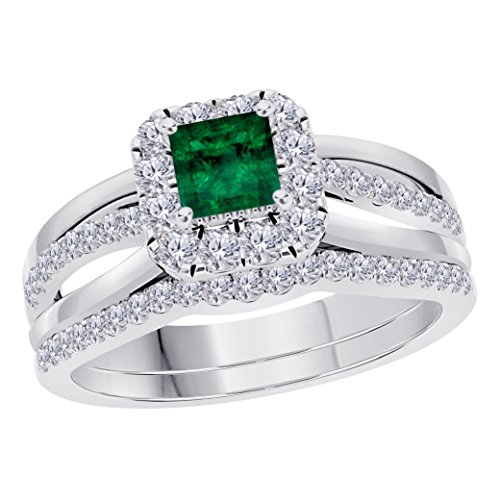 (Jewelryhub 2CT Princess Cut Cz Green Emerald 925 Sterling Silver Wedding Bridal Set Split Shank Halo Engagement Ring Set Size 4-12)